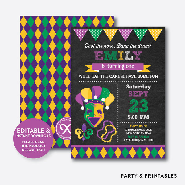Mardi Gras Chalkboard Kids Birthday Invitation / Editable / Instant Download (CKB.110B)