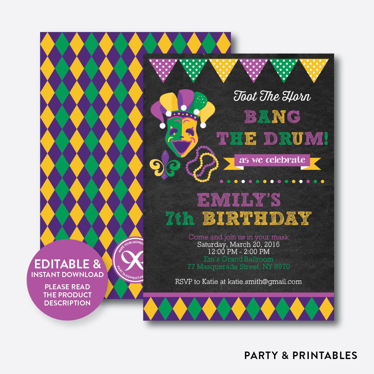 Mardi Gras Chalkboard Kids Birthday Invitation / Editable / Instant Download (CKB.110)