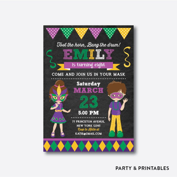 Masquerade Chalkboard Kids Birthday Invitation / Personalized (CKB.111)
