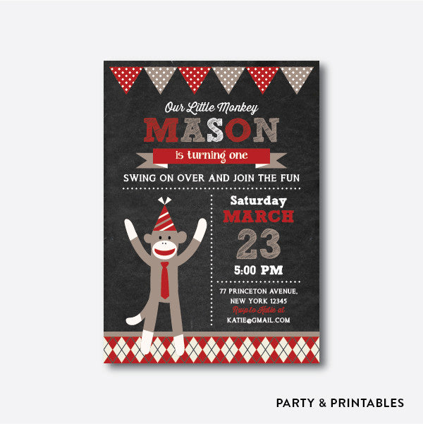 Sock Monkey Boy Chalkboard Kids Birthday Invitation / Personalized (CKB.112), invitation - Party and Printables
