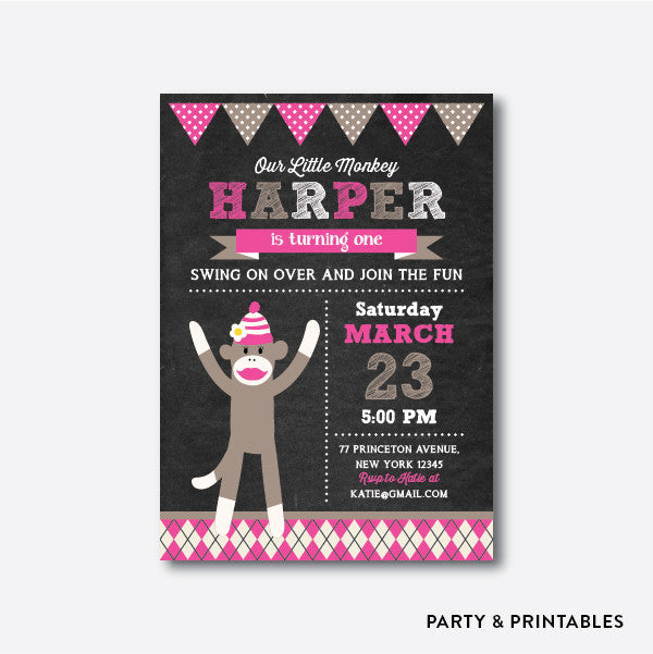 Sock Monkey Girl Chalkboard Kids Birthday Invitation / Personalized (CKB.115)
