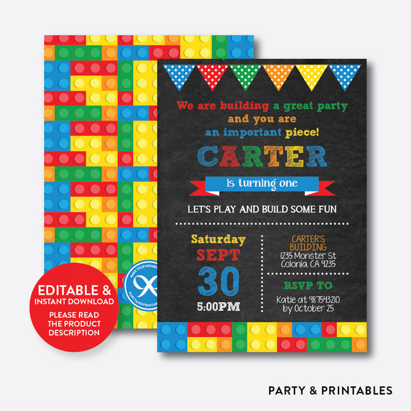 Building Blocks Chalkboard Kids Birthday Invitation / Editable / Instant Download (CKB.118), invitation - Party and Printables