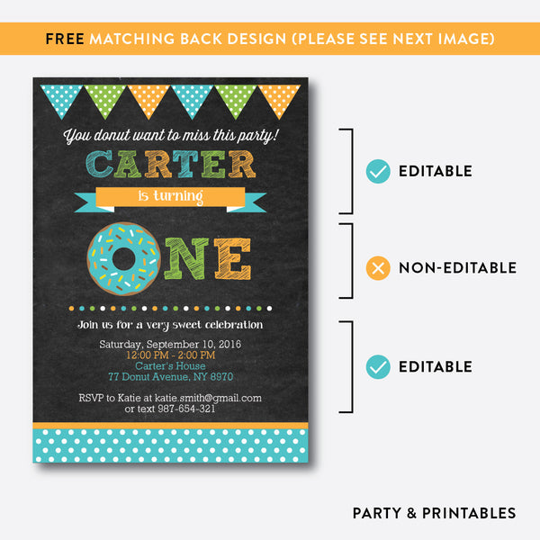 Donut Chalkboard Kids Birthday Invitation / Editable / Instant Download (CKB.11B), invitation - Party and Printables