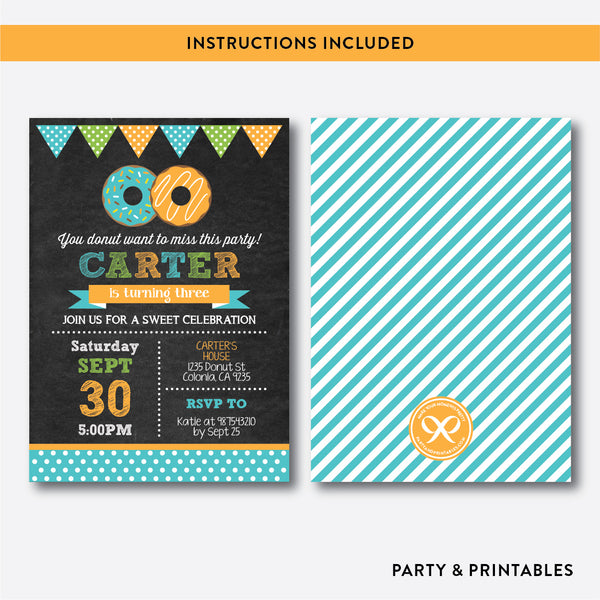 Donut Chalkboard Kids Birthday Invitation / Editable / Instant Download (CKB.11C), invitation - Party and Printables