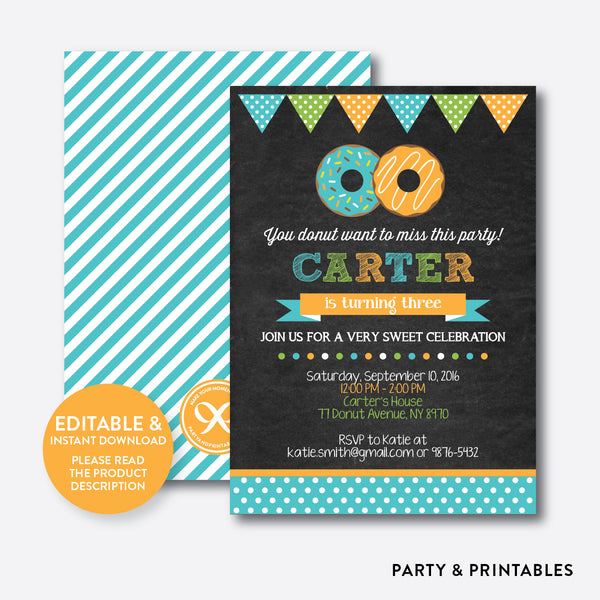 Donut Chalkboard Kids Birthday Invitation / Editable / Instant Download (CKB.11), invitation - Party and Printables