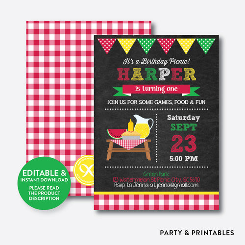 Summer Picnic Chalkboard Kids Birthday Invitation / Editable / Instant Download (CKB.120B)