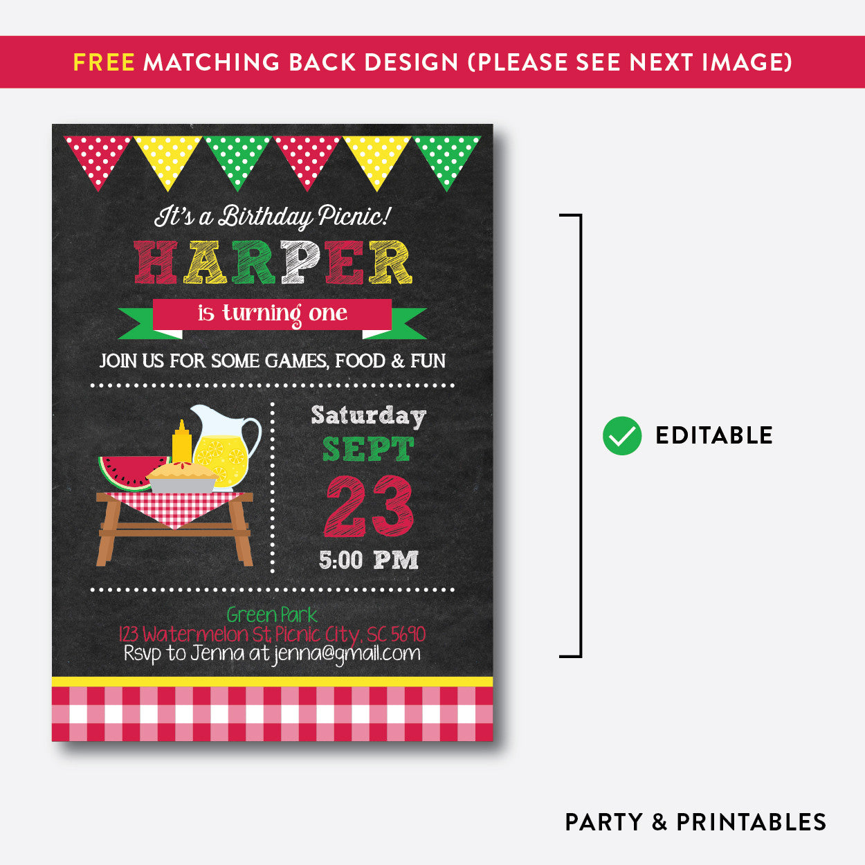 Summer Picnic Chalkboard Kids Birthday Invitation / Editable / Instant Download (CKB.120B), invitation - Party and Printables