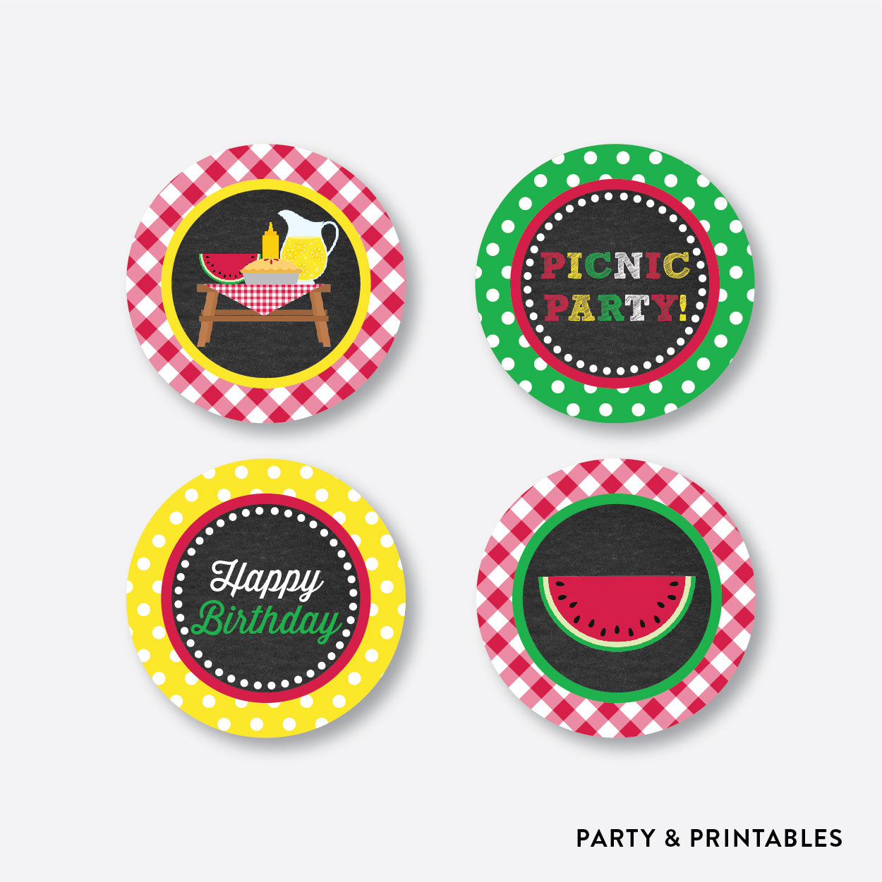 Picnic Chalkboard Cupcake Toppers / Non-Personalized / Instant Download (CKB.120), party printables - Party and Printables
