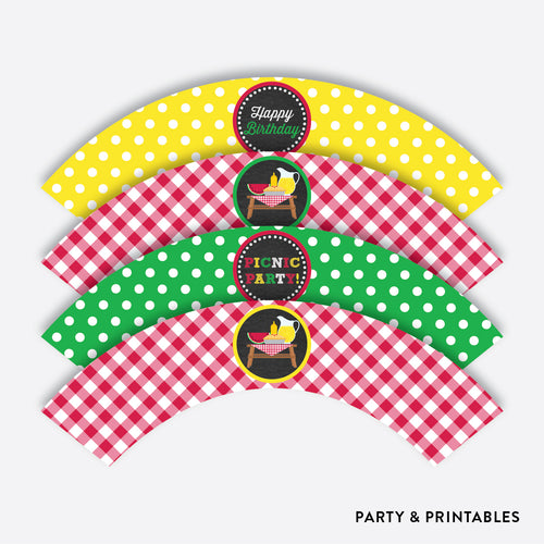 Picnic Chalkboard Cupcake Wrappers / Non-Personalized / Instant Download (CKB.120)