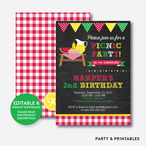 Summer Picnic Chalkboard Kids Birthday Invitation / Editable / Instant Download (CKB.120)