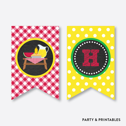 Picnic Chalkboard Party Banner / Happy Birthday Banner / Non-Personalized / Instant Download (CKB.120)