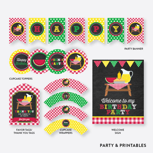 Picnic Chalkboard Standard Kids Birthday Party Package / Non-Personalized / Instant Download (CKB.120)