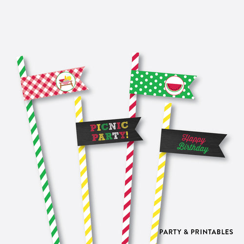 Picnic Chalkboard Straw Flags / Non-Personalized / Instant Download (CKB.120)
