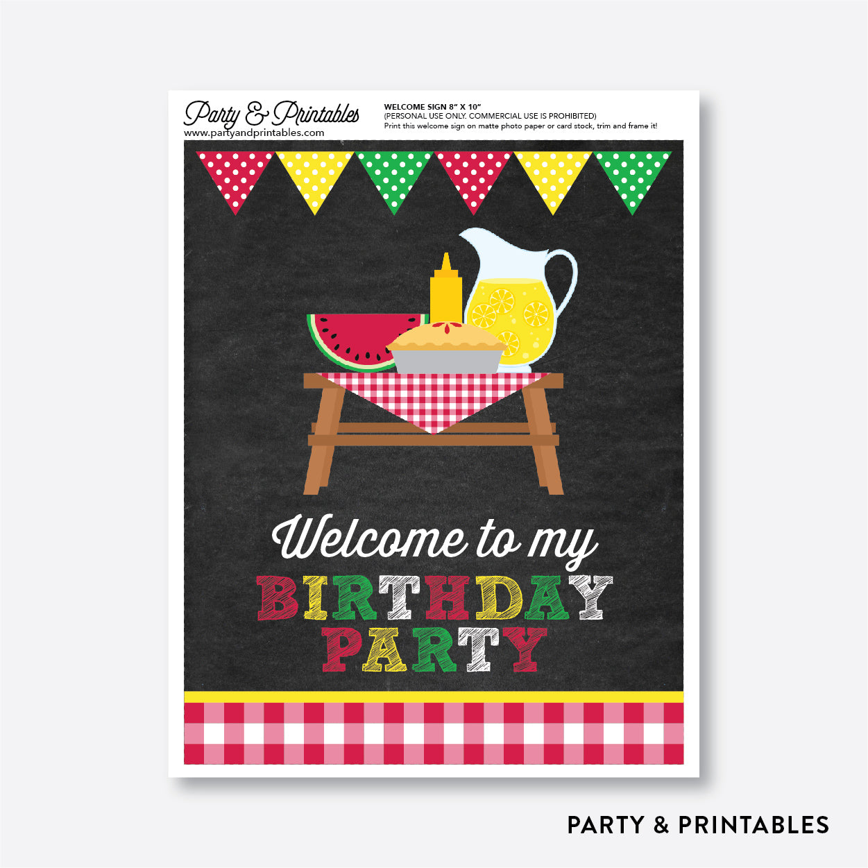 Picnic Chalkboard Welcome Sign / Non-Personalized / Instant Download (CKB.120), party printables - Party and Printables