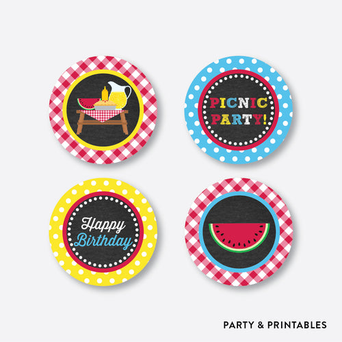 Picnic Chalkboard Cupcake Toppers / Non-Personalized / Instant Download (CKB.121)