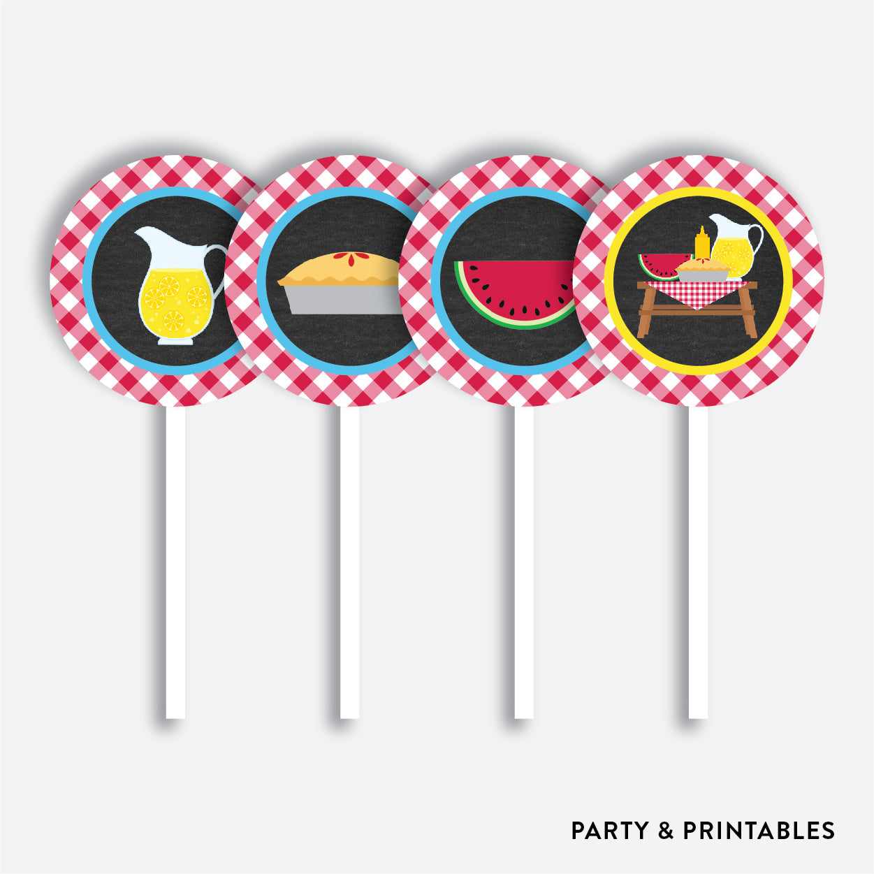 Picnic Chalkboard Cupcake Toppers / Non-Personalized / Instant Download (CKB.121), party printables - Party and Printables