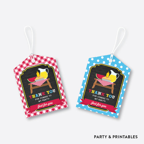 Picnic Chalkboard Favor Tags / Non-Personalized / Instant Download (CKB.121)