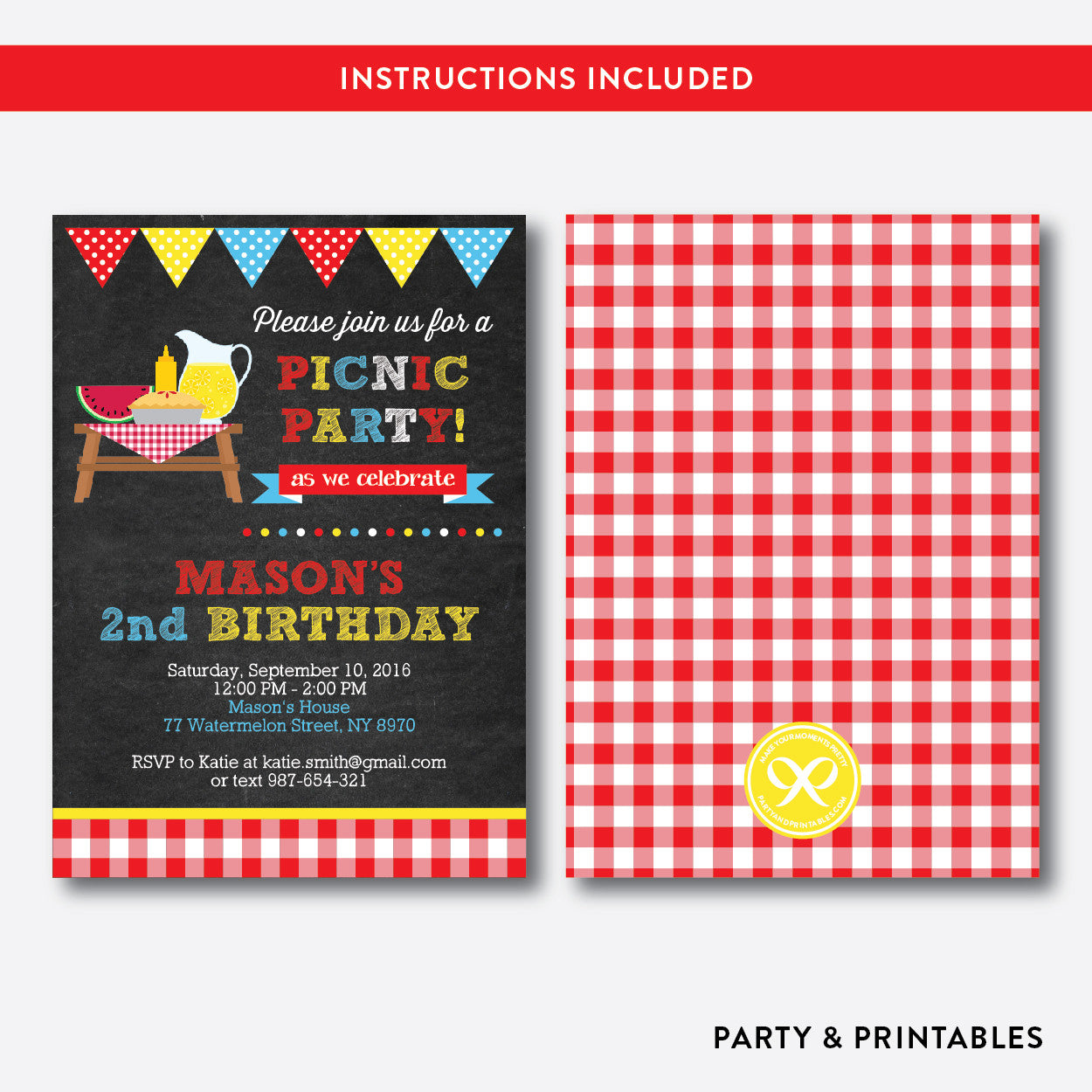 Summer Picnic Chalkboard Kids Birthday Invitation / Editable / Instant Download (CKB.121), invitation - Party and Printables