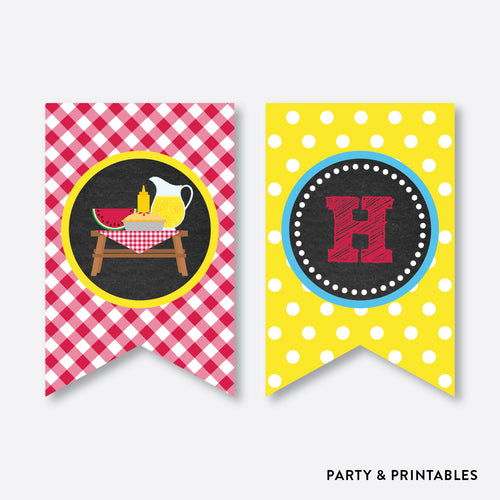 Picnic Chalkboard Party Banner / Happy Birthday Banner / Non-Personalized / Instant Download (CKB.121)