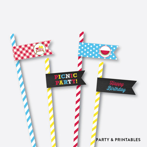Picnic Chalkboard Straw Flags / Non-Personalized / Instant Download (CKB.121)