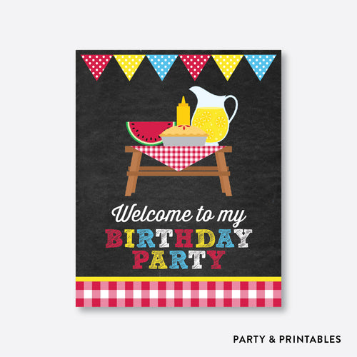 Picnic Chalkboard Welcome Sign / Non-Personalized / Instant Download (CKB.121)