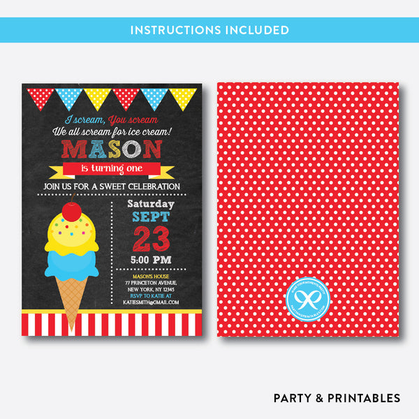 Ice Cream Chalkboard Kids Birthday Invitation / Editable / Instant Download (CKB.122B), invitation - Party and Printables