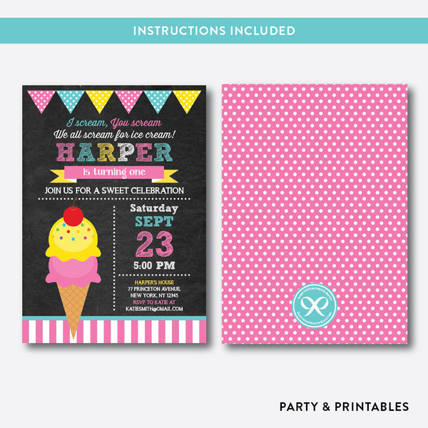 Ice Cream Chalkboard Kids Birthday Invitation / Editable / Instant Download (CKB.123B), invitation - Party and Printables