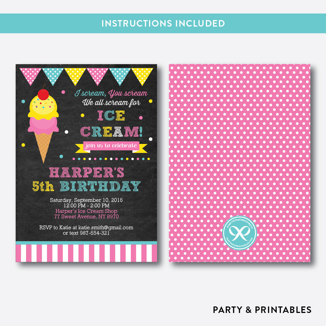 Ice Cream Chalkboard Kids Birthday Invitation / Editable / Instant Download (CKB.123), invitation - Party and Printables