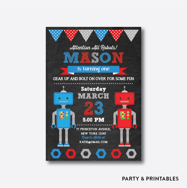 Robot Boy Chalkboard Kids Birthday Invitation / Personalized (CKB.124), invitation - Party and Printables