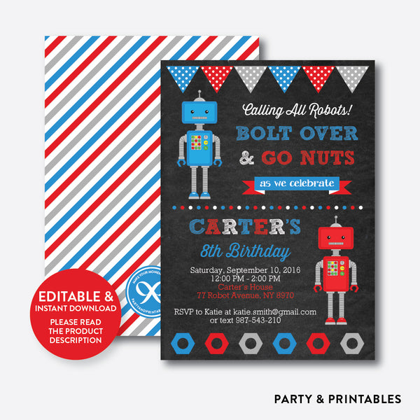 Robot Chalkboard Kids Birthday Invitation / Editable / Instant Download (CKB.124), invitation - Party and Printables