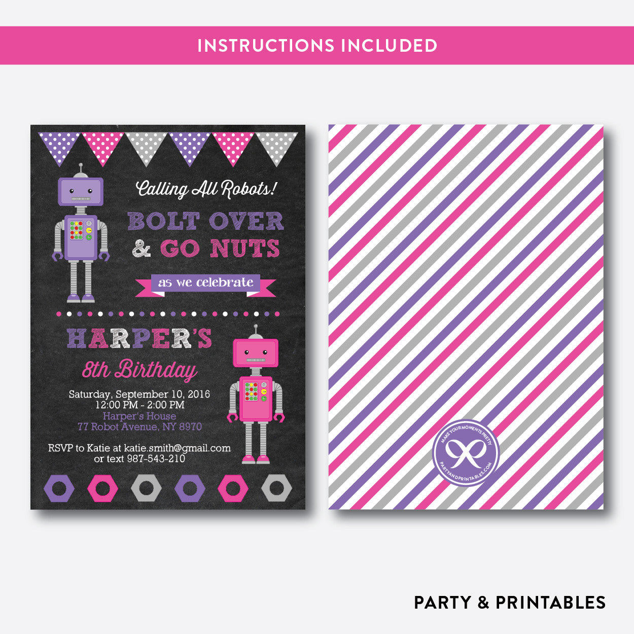 Robot Chalkboard Kids Birthday Invitation / Editable / Instant Download (CKB.125), invitation - Party and Printables