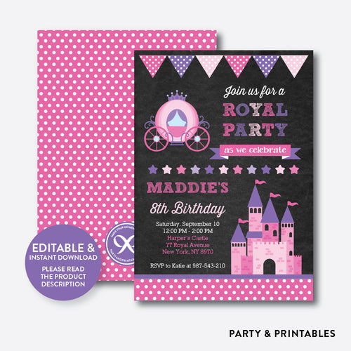 Royal Party Chalkboard Kids Birthday Invitation / Editable / Instant Download (CKB.128)