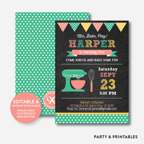 Baking Chalkboard Kids Birthday Invitation / Editable / Instant Download (CKB.130B)