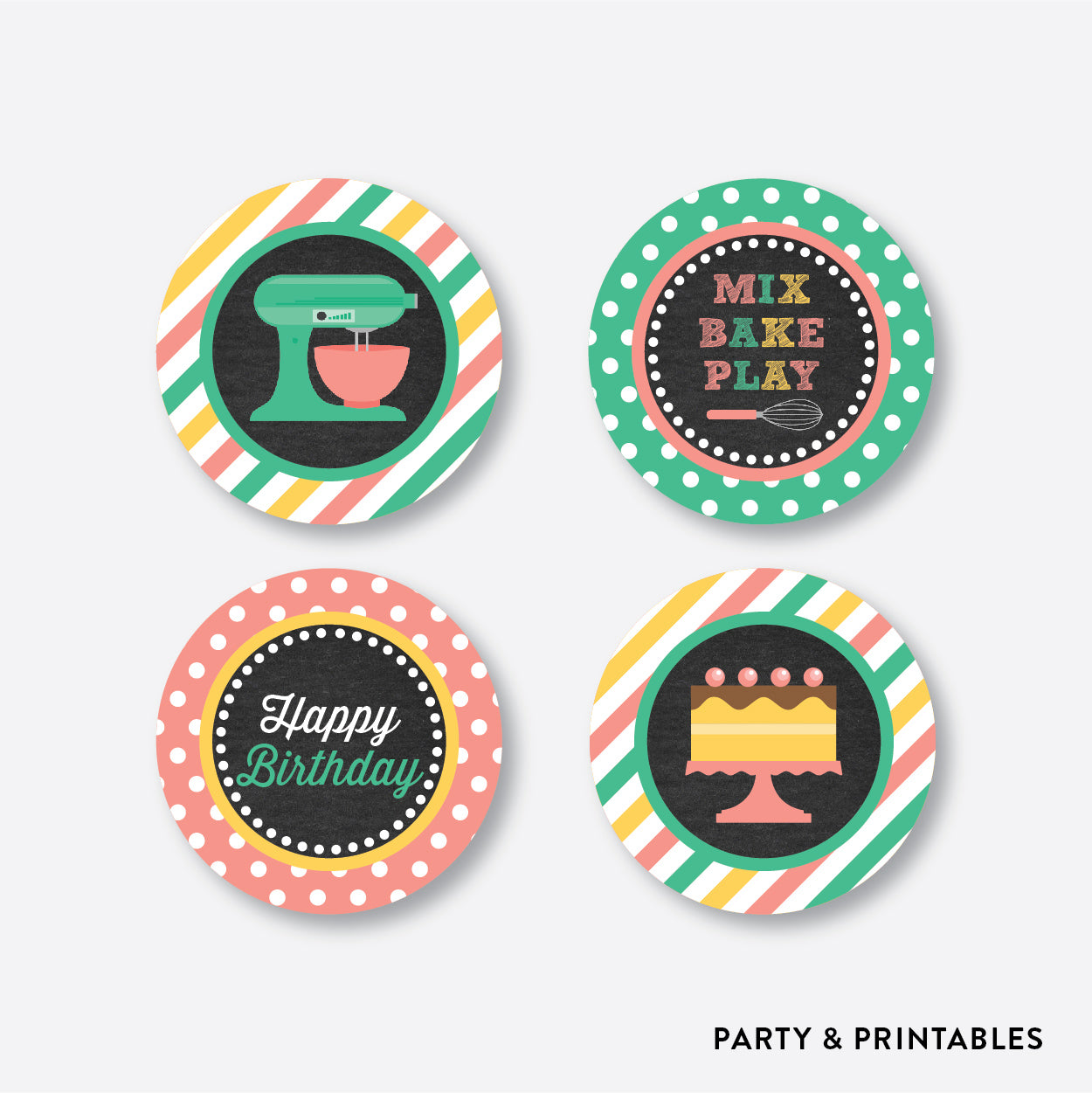 Baking Chalkboard Cupcake Toppers / Non-Personalized / Instant Download (CKB.130), party printables - Party and Printables