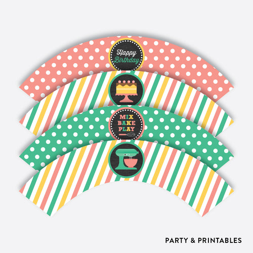Baking Chalkboard Cupcake Wrappers / Non-Personalized / Instant Download (CKB.130)