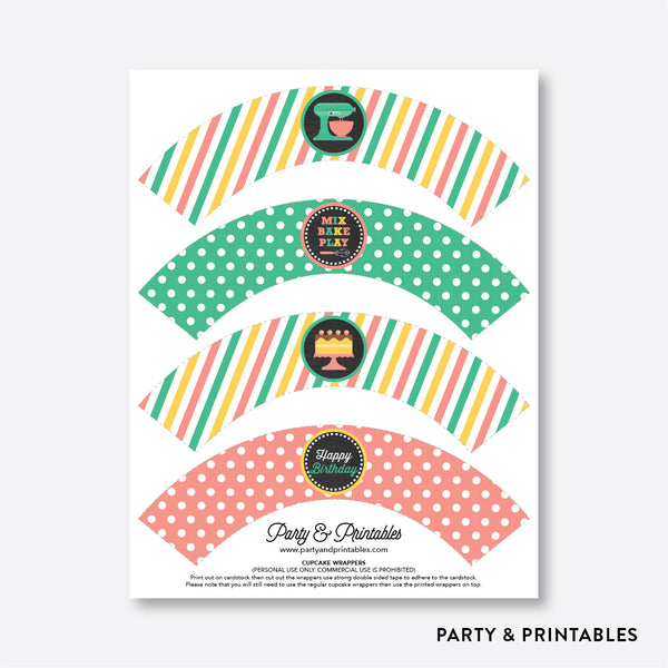 Baking Chalkboard Cupcake Wrappers / Non-Personalized / Instant Download (CKB.130), party printables - Party and Printables
