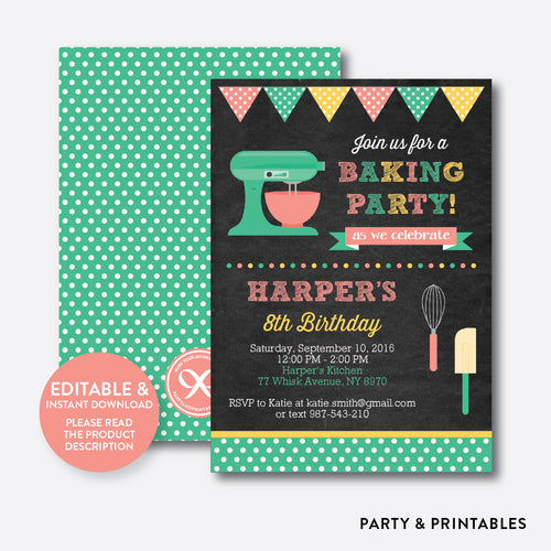 Baking Chalkboard Kids Birthday Invitation / Editable / Instant Download (CKB.130)
