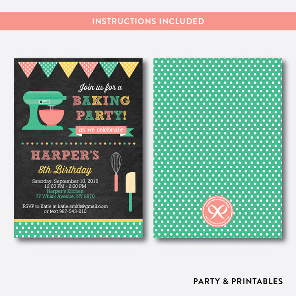 Baking Chalkboard Kids Birthday Invitation / Editable / Instant Download (CKB.130), invitation - Party and Printables