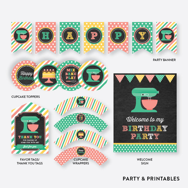 Baking Chalkboard Standard Kids Birthday Party Package / Non-Personalized / Instant Download (CKB.130), party package - Party and Printables
