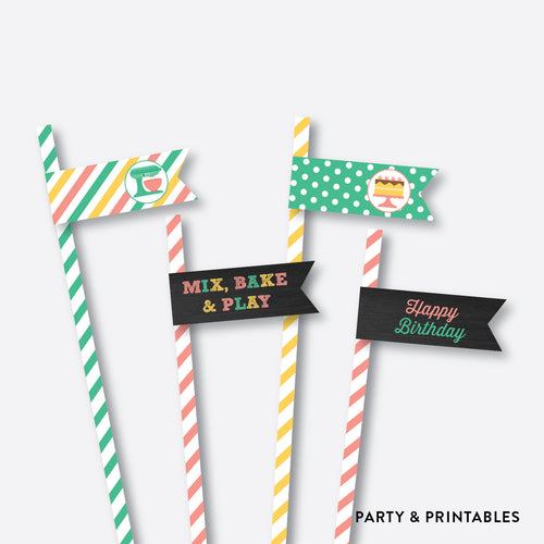 Baking Chalkboard Straw Flags / Non-Personalized / Instant Download (CKB.130)