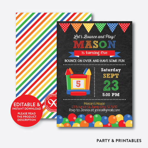 Bounce House Chalkboard Kids Birthday Invitation / Editable / Instant Download (CKB.131B)