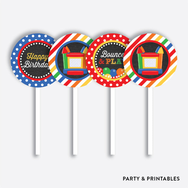 Bounce House Chalkboard Cupcake Toppers / Non-Personalized / Instant Download (CKB.131), party printables - Party and Printables