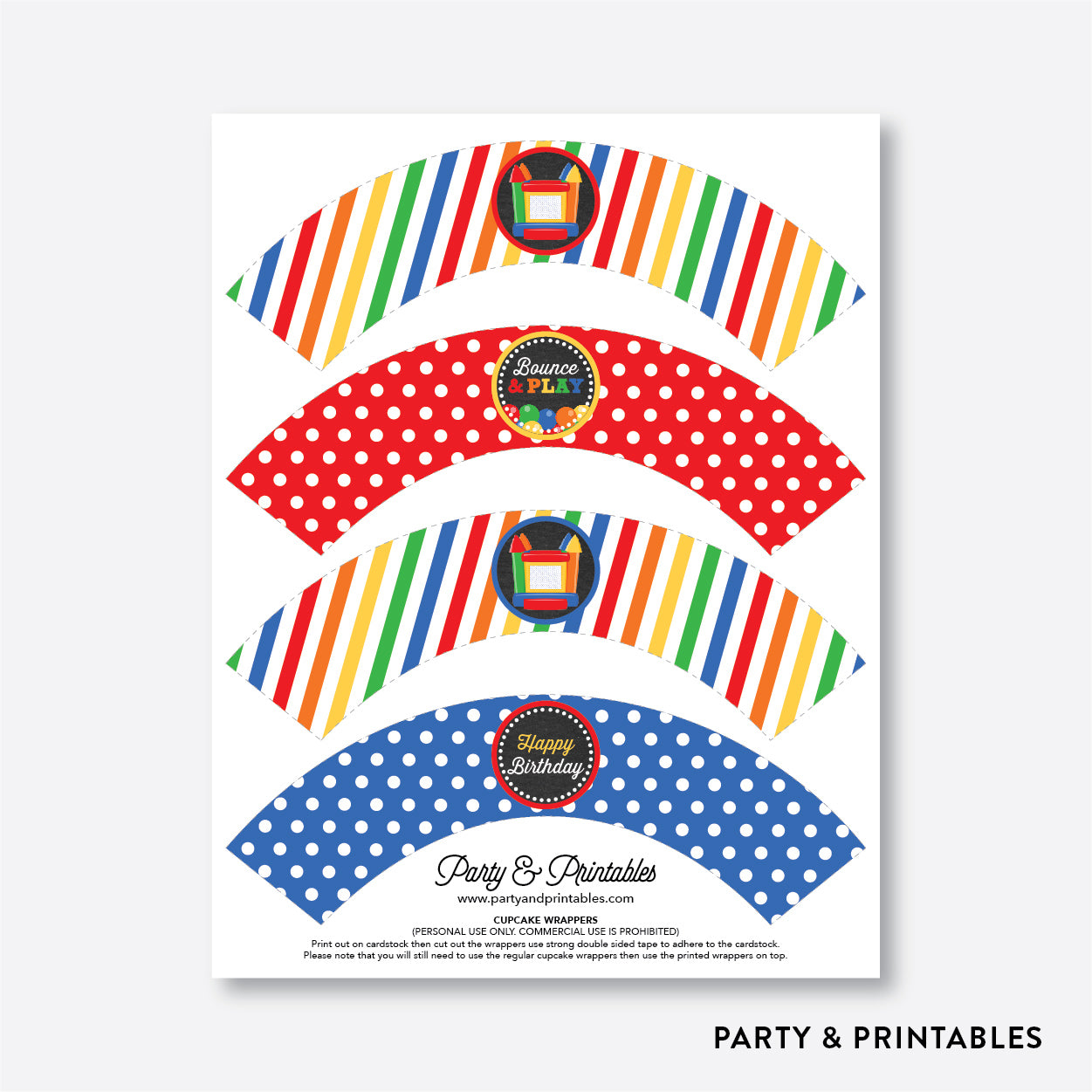 Bounce House Chalkboard Cupcake Wrappers / Non-Personalized / Instant Download (CKB.131), party printables - Party and Printables