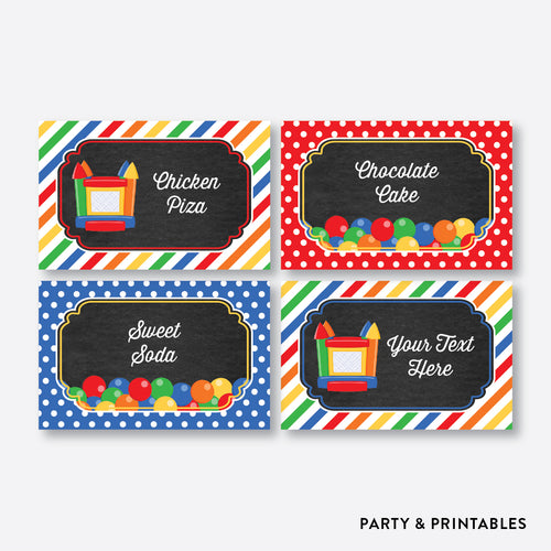 Bounce House Chalkboard Food Labels / Editable / Instant Download (CKB.131)