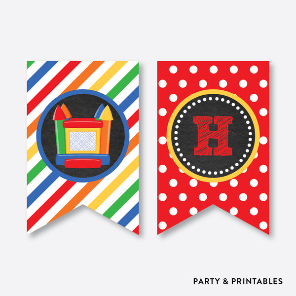 Bounce House Chalkboard Party Banner / Happy Birthday Banner / Non-Personalized / Instant Download (CKB.131), party printables - Party and Printables