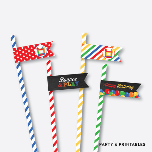 Bounce House Chalkboard Straw Flags / Non-Personalized / Instant Download (CKB.131)