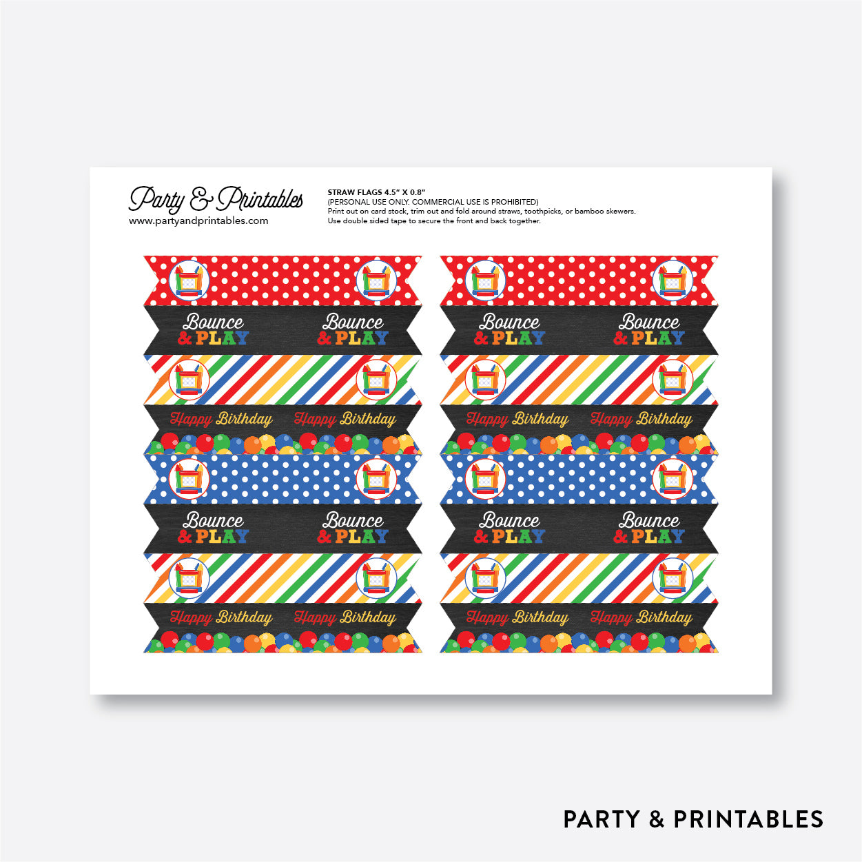 Bounce House Chalkboard Straw Flags / Non-Personalized / Instant Download (CKB.131), party printables - Party and Printables
