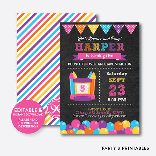 Bounce House Chalkboard Kids Birthday Invitation / Editable / Instant Download (CKB.132B)
