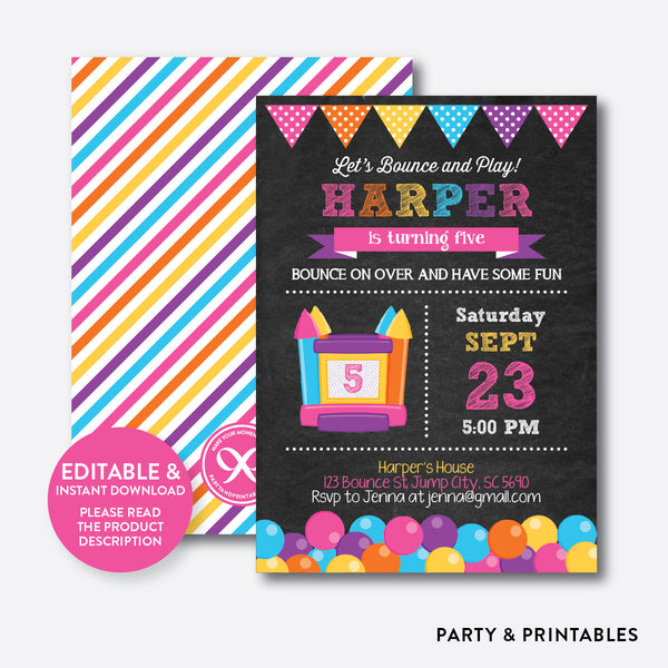 Bounce House Chalkboard Kids Birthday Invitation / Editable / Instant Download (CKB.132B), invitation - Party and Printables