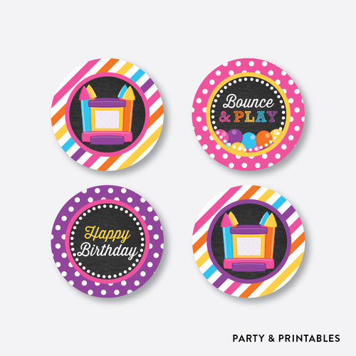 Bounce House Chalkboard Cupcake Toppers / Non-Personalized / Instant Download (CKB.132)